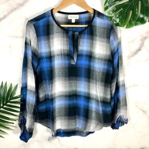 Anthropologie Cloth and Stone Plaid Blue Top | Sm